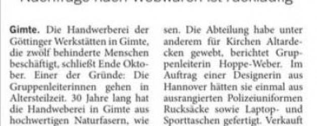 "Bericht ""Handweberei in Gimte schließt"" im Blick"