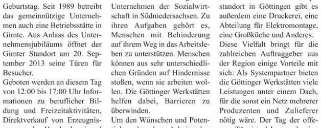 """Bericht in """"Hann. Münden aktuell"""" vom 19.09.2013 über """"40-Jähriges"""""""